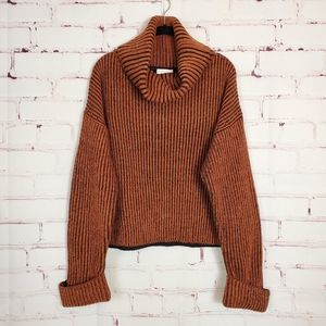 TOPSHOP Turtleneck Sweater Rust Black M